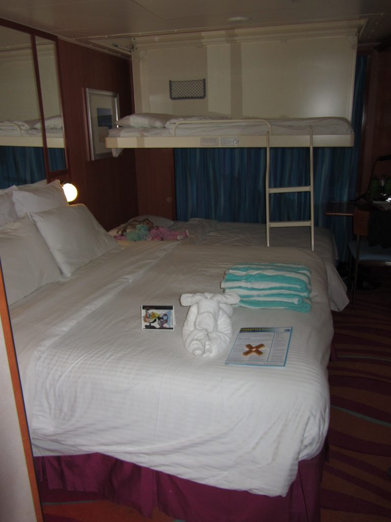 Stateroom at night with bunkbeds