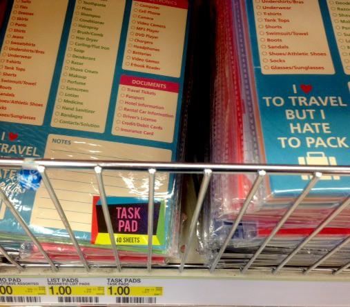 Target Travel Pack List Paper Pad