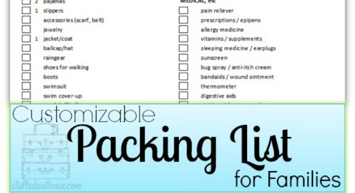 Packing List For Families