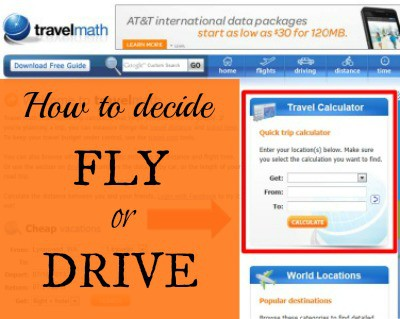 How to decide & compare Fly or Drive for your vacation #trip StuffedSuitcase.com #travel #budgeting #planning
