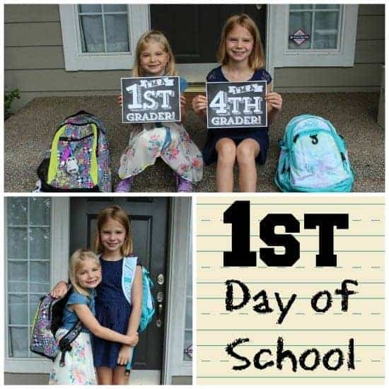 First Day of School w Printable Grade Sign StuffedSuitcase.com #backtoschool #grade #signs