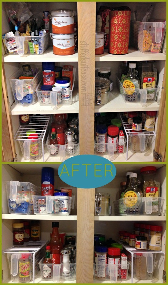 Organized Kitchen Cabinet for Spices using Storables Handy Pantry Baskets StuffedSuitcase.com #organization #containers