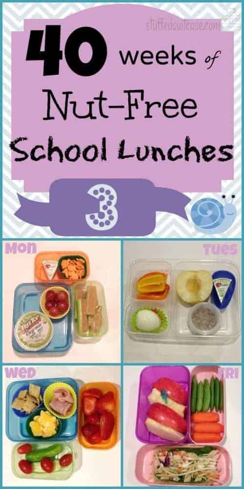 Week 3 of 40 Weeks of Nut Free Kids School Lunches StuffedSuitcase.com lunch ideas no peanut treenut