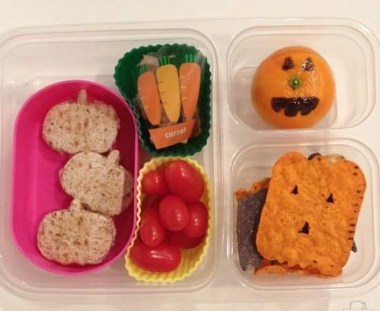 Halloween Lunch Ideas Pumpkin Theme School Lunches StuffedSuitcase.com