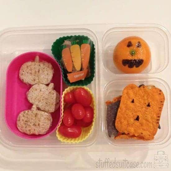 Halloween Lunch Ideas Pumpkin Theme School Lunches StuffedSuitcase.com