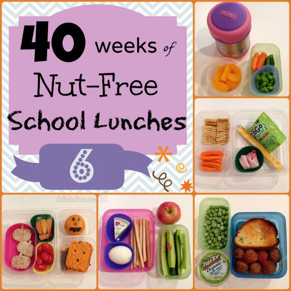 Week 6 40 Weeks Nut Free Kids School Lunches StuffedSuitcase.com pack lunch box