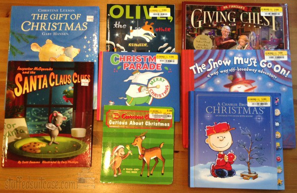 Books for Christmas found at Half Price Books for our Christmas Reading Tradition StuffedSuitcase.com