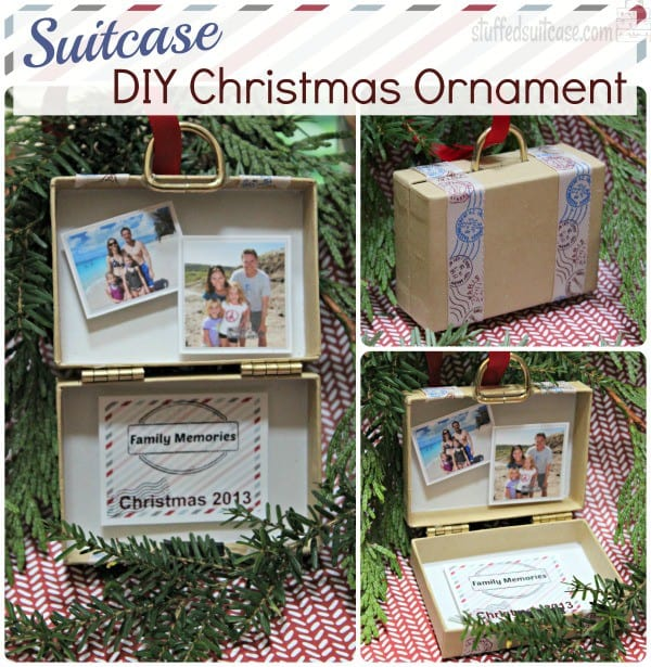 Suitcase DIY Christmas Ornament for displaying your travel vacation memories StuffedSuitcase.com family travel photos