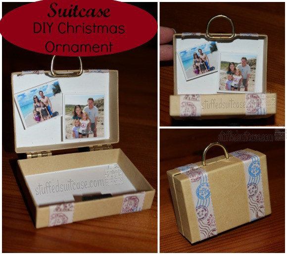 Suitcase DIY Christmas Ornament Craft Project to remember your family vacations StuffedSuitcase.com travel