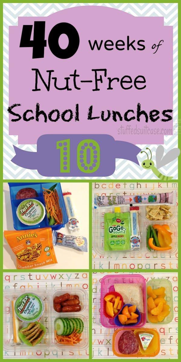 Week 10 of 40 Weeks of Nut Free Kids School Lunches - packed peanut free  kid food lunch idea StuffedSuitcase.com