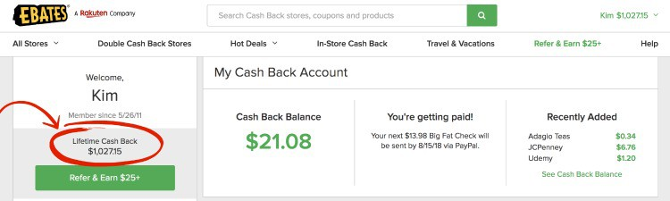ebates cashback savings report