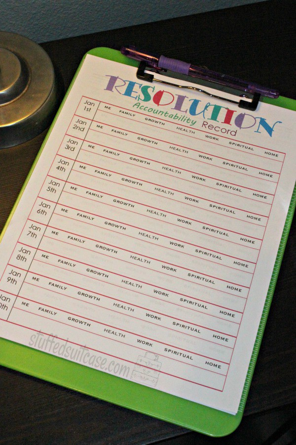 New Years Resolutions Accountability Tracking Log - stay on goal with your resolutions each day StuffedSuitcase.com