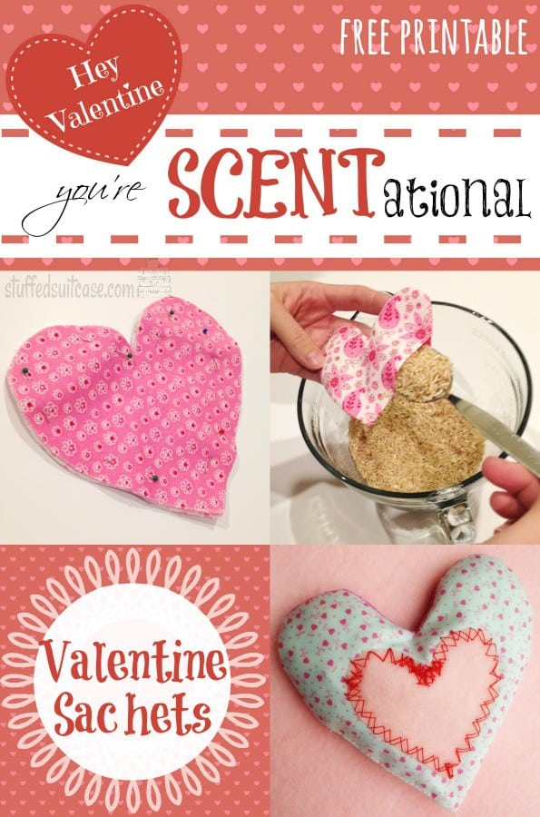 Valentine Crafts Sachets - Hey Valentine You're SCENTational Free Printable StuffedSuitcase DIY #sewing