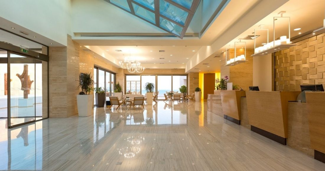 hotel lobby with marble and wood
