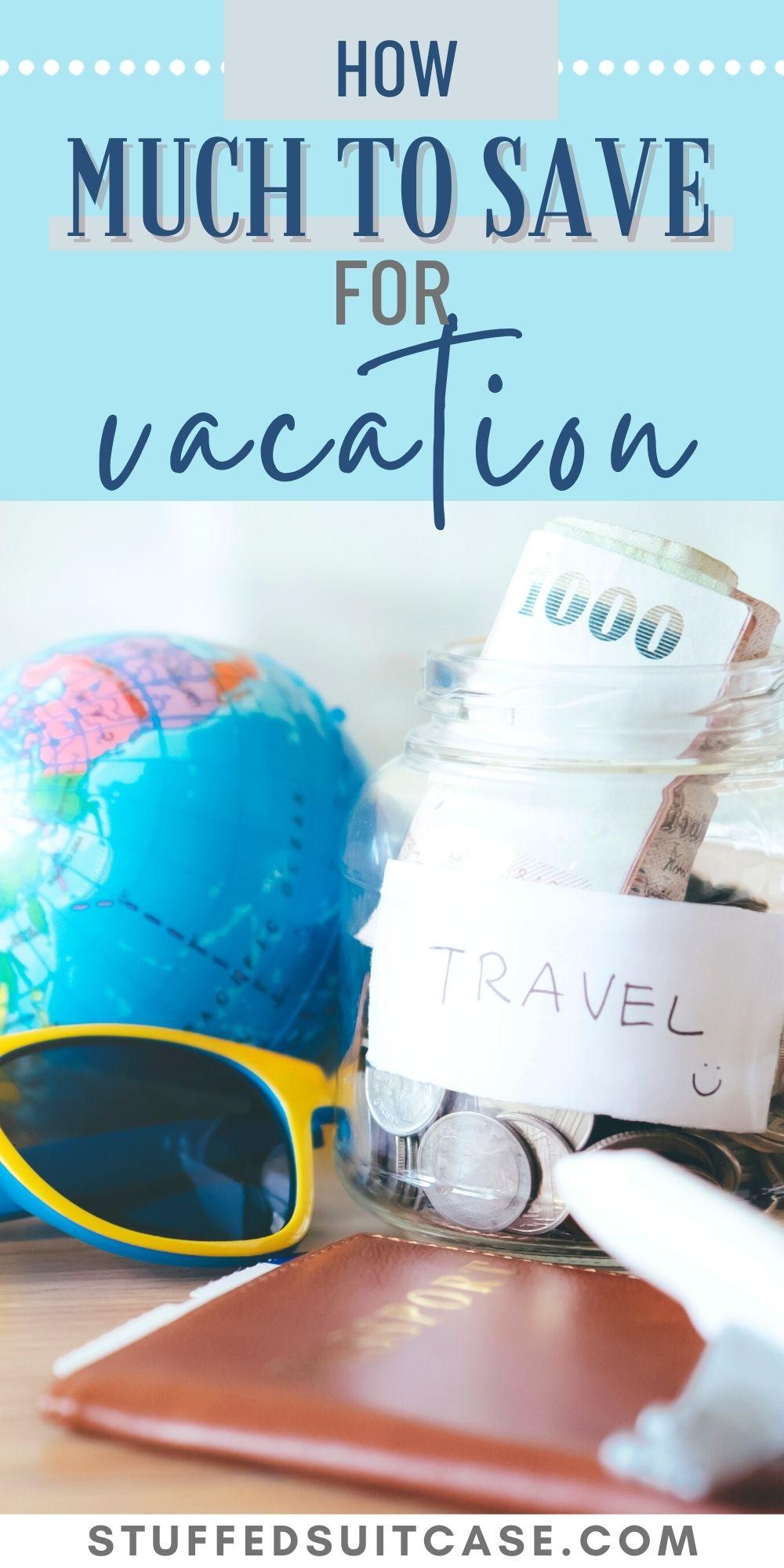 travel savings jar with globe sunglasses passport and text overlay