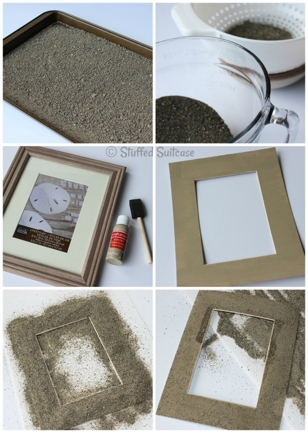 DIY Sand Photo Frames for displaying your beach vacation picture memories StuffedSuitcase.com family travel