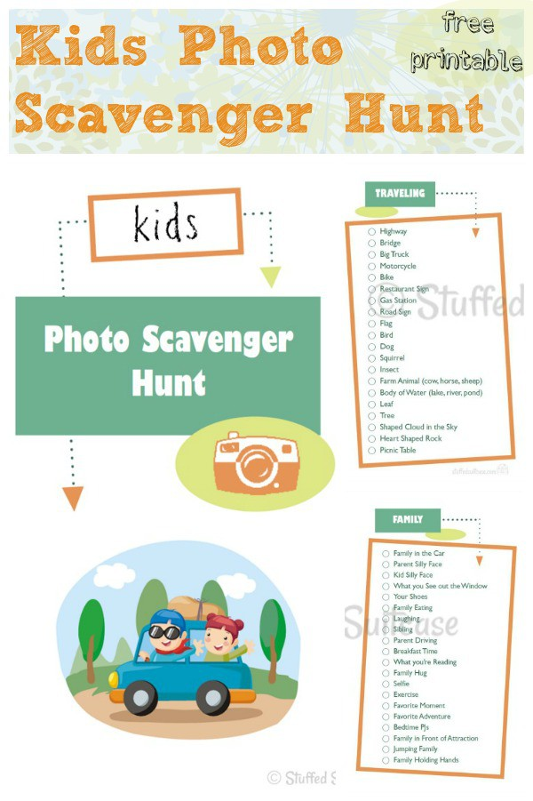 Kids Photo Scavenger Hunt Free Printable - great for family road trips and vacations! StuffedSuitcase.com travel