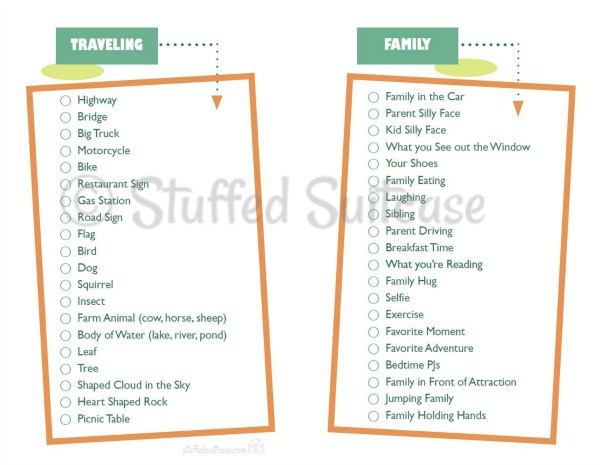 Photo Scavenger Hunt for Kids Free Printable  - great for family road trip vacations StuffedSuitcase.com