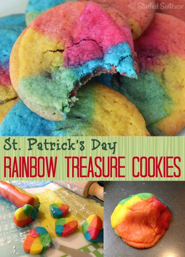 St. Patrick's Day Rainbow Cookies with Rolo Treasure Centers Recipe | StuffedSuitcase.com