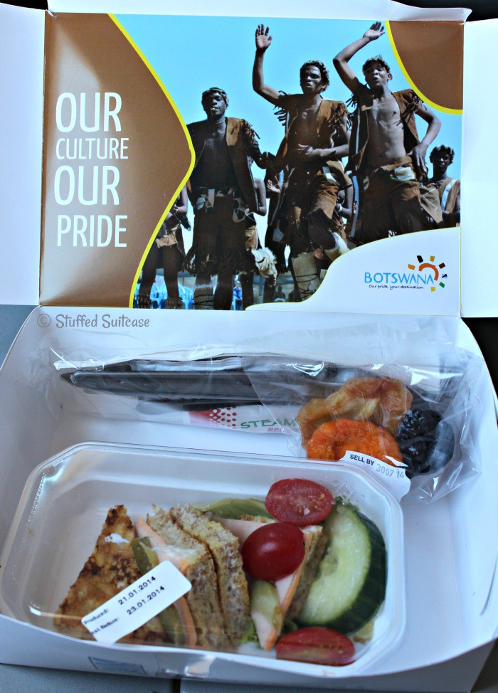 Food Lunch Box on Air Botswana Flight from Gaborone to Kasane StuffedSuitcase.com