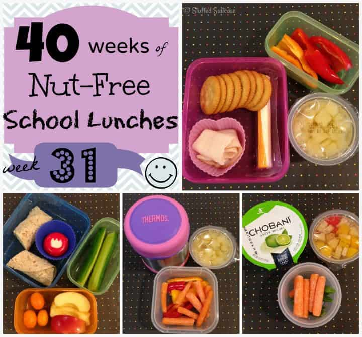 Kids Nut Free School Lunch Ideas: Week 31 of 40 packed lunches StuffedSuitcase.com