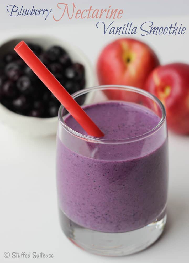 Blueberry Nectarine Vanilla Smoothie Recipe - perfect for quick and easy breakfast or lunch | StuffedSuitcase.com