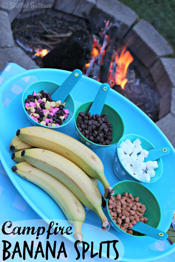 Campfire Banana Split Recipe - Backyard Summer Family Fun StuffedSuitcase.com
