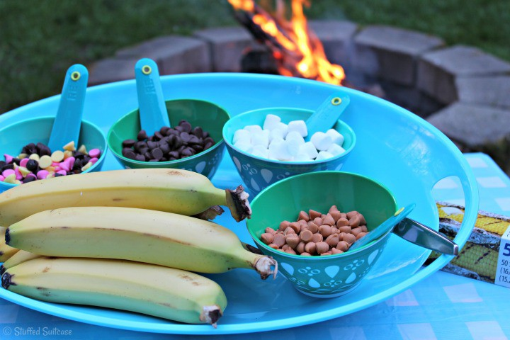 Toppings Tray for Campfire Banana Split recipe | StuffedSuitcase.com