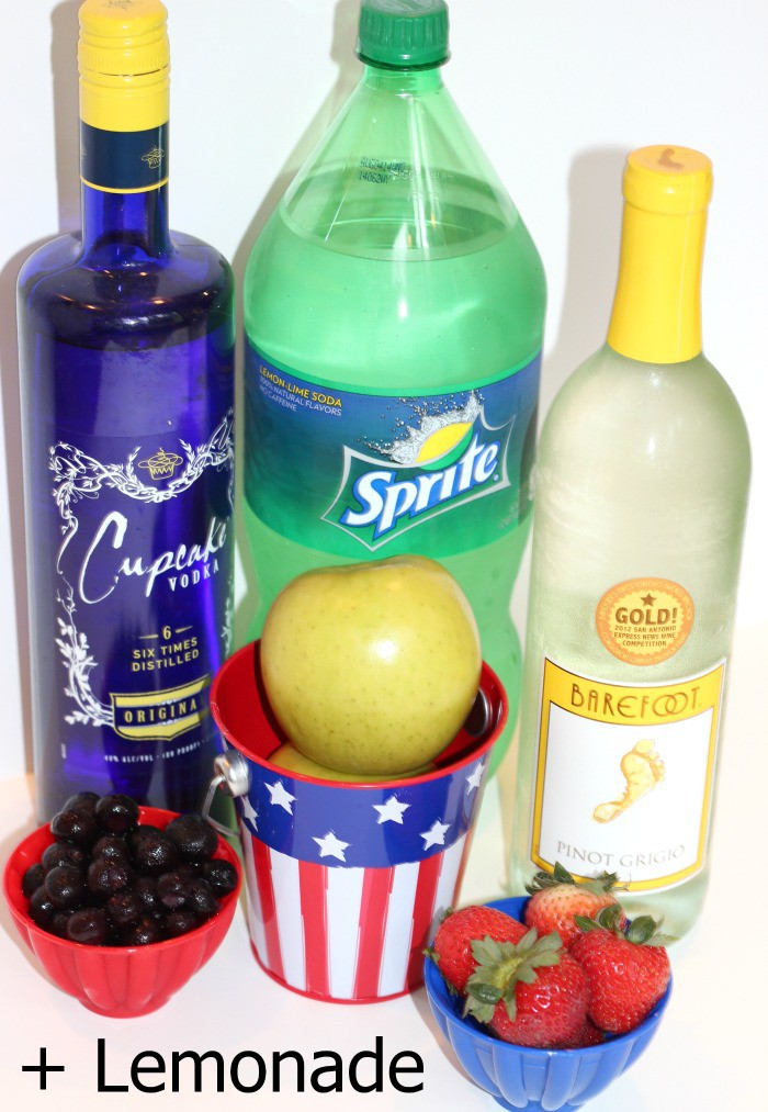 Ingredients used to make Stars and Stripes Sangria Recipe for 4th of July StuffedSuitcase.com drink