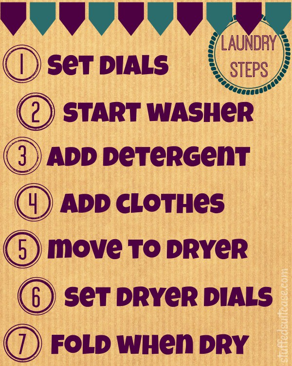 Teach Your Kids to do their Laundry with this step by step free printable StuffedSuitcase.com