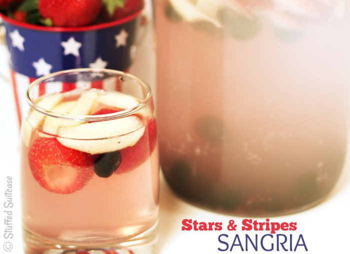 Recipe for Summer Sangria - Stars and Stripes drink for July 4th StuffedSuitcase.com
