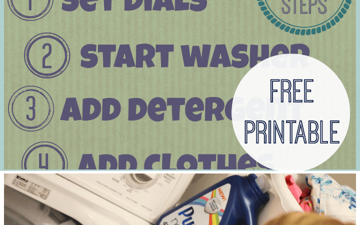 Teach Your Kids to do Laundry - free printable with steps for your child StuffedSuitcase.com