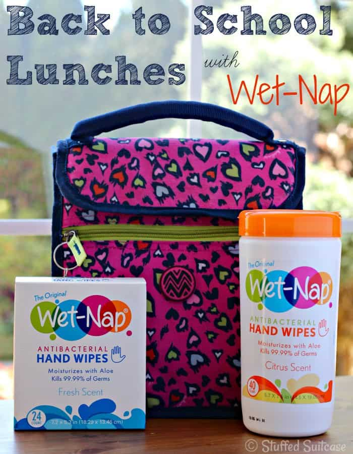 Back to School Hot Lunch Ideas plus add in a Wet-Nap hand wipe for clean up before and after eating StuffedSuitcase.com