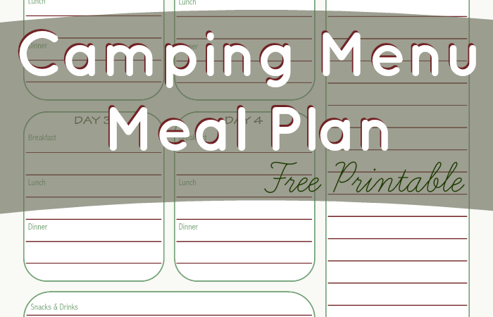 Camping Menu Meal Planning Printable