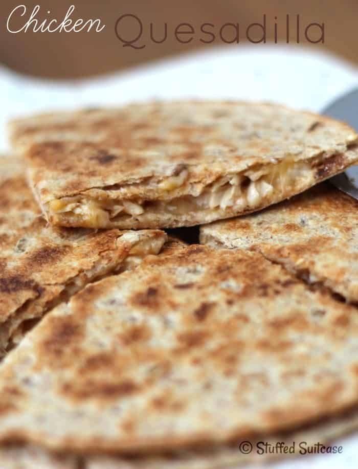 Chicken Quesadilla Recipe - quick and easy dinner or perfect for packing in a school lunch | StuffedSuitcase.com