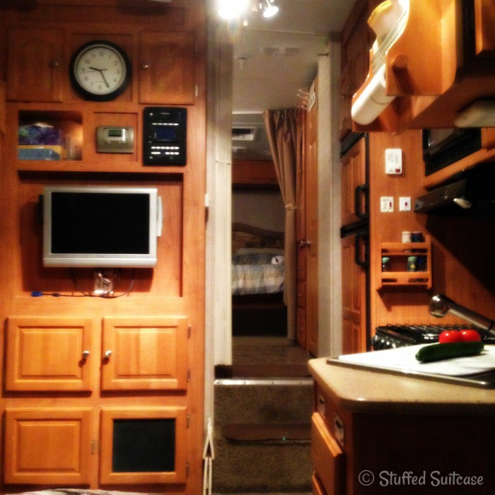 view inside the trailer camper