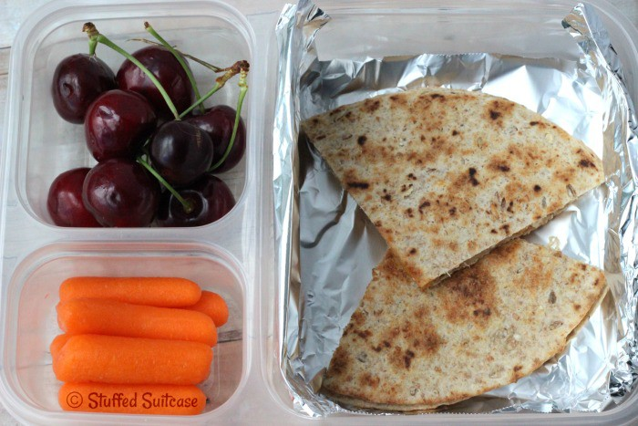 Chicken Quesadilla - quick and easy recipe for packing in school lunch StuffedSuitcase.com