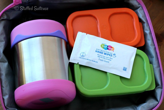 Pack a Wet-Nap hand wipe in with your kids school lunches for them to clean their hands before they eat or after a messy meal StuffedSuitcase.com