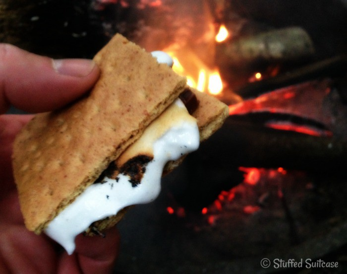 Yum! S'mores during family camping trip