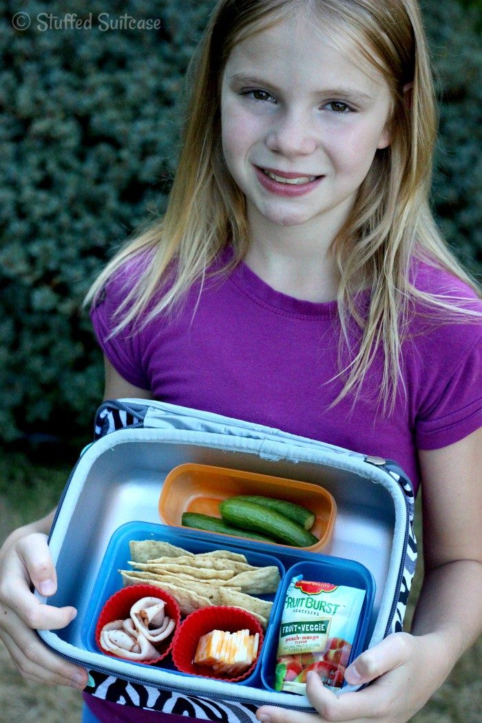 My daughter with her packed school lunch StuffedSuitcase.com