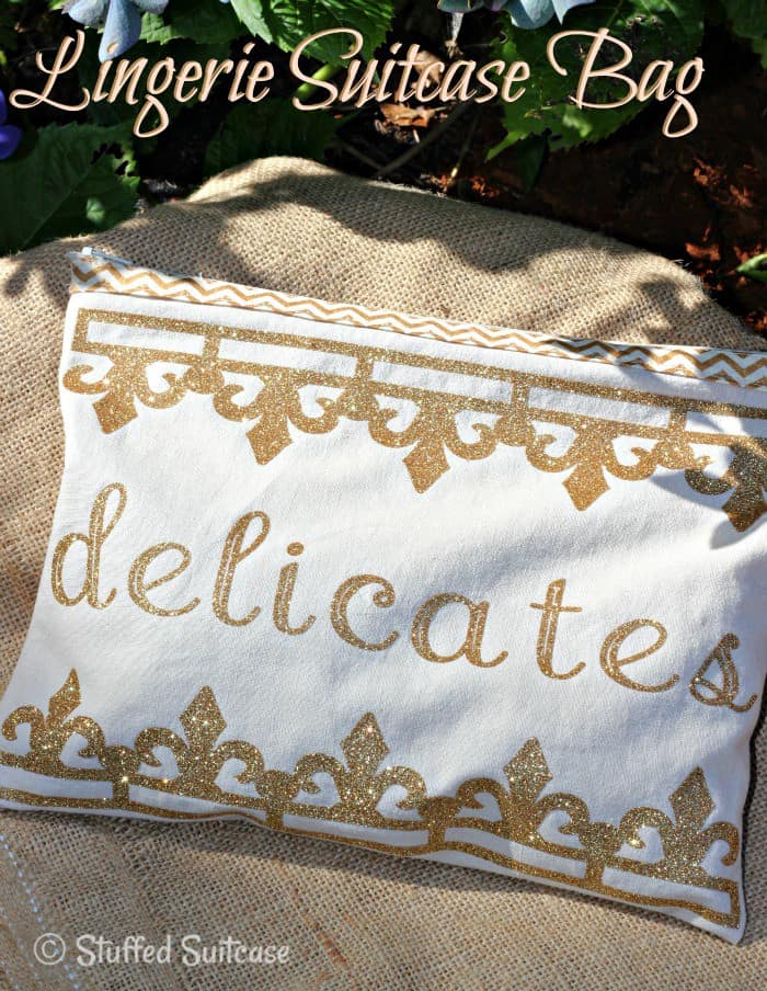 DIY Lingerie Travel Bag created for storing your delicates in your suitcase when packing for vacation | StuffedSuitcase.com