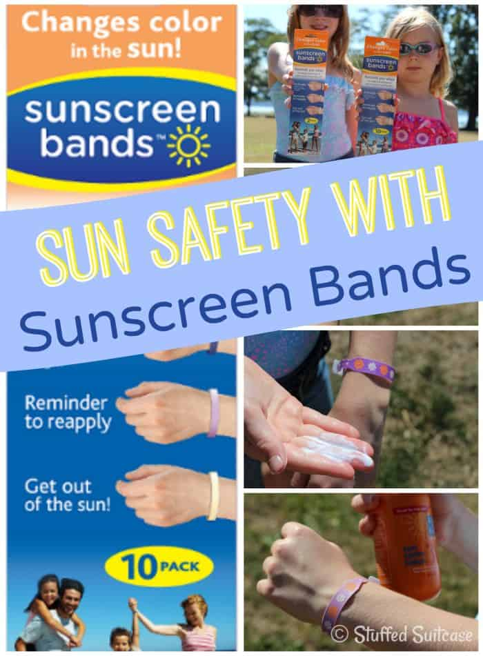 Sun Safety using Sunscreen Bands - bracelets that give you and kids visual reminder when to reapply sunscreen | StuffedSuitcase.com