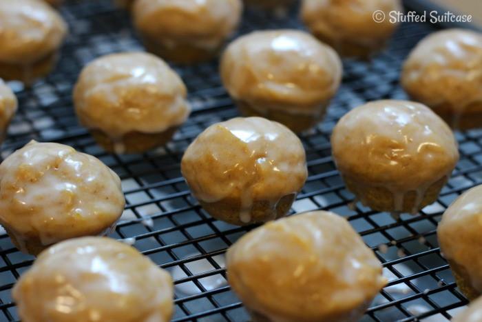 Vanilla Glaze on mini Pumpkin Spice Muffins