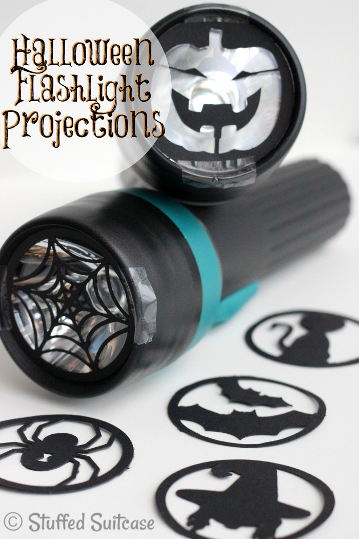 Kids will love taking these DIY Halloween Flashlight Projections along while they trick or treat - great Halloween craft! StuffedSuitcase.com