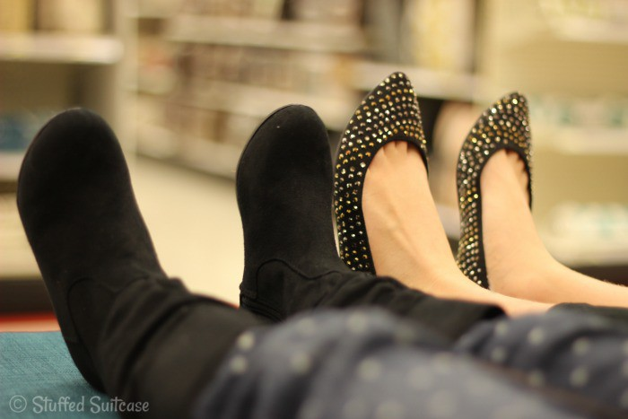 Relaxing with our new shoes at Target