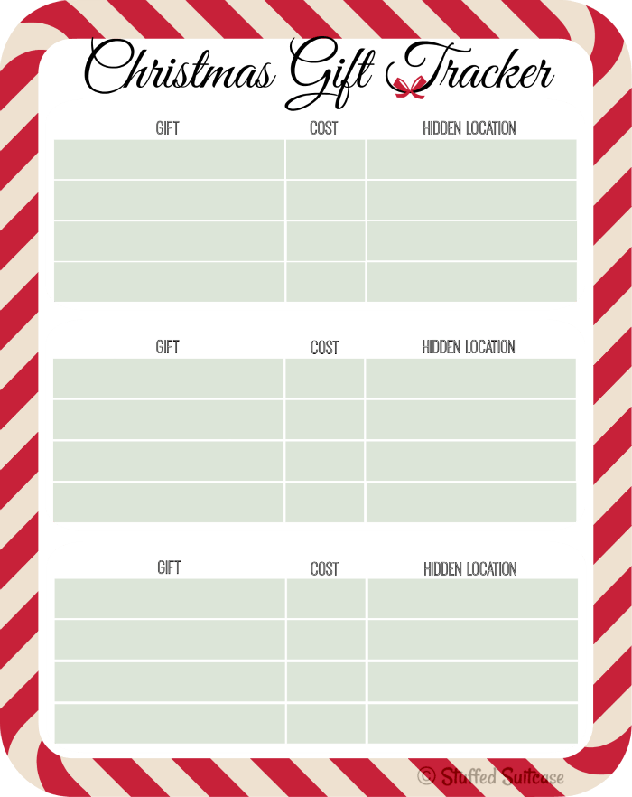 Use this free printable Christmas Gift Tracker from StuffedSuitcase.com to keep track of gifts you purchased, what you've spent, and where you've hidden the items!