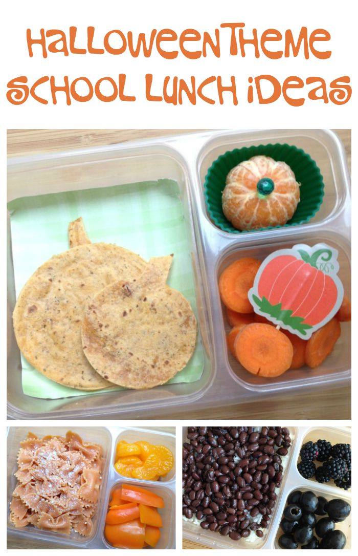 Pack a halloween surprise in your kids school lunch with these fun pumpkin, orange, and black Halloween theme lunch ideas!