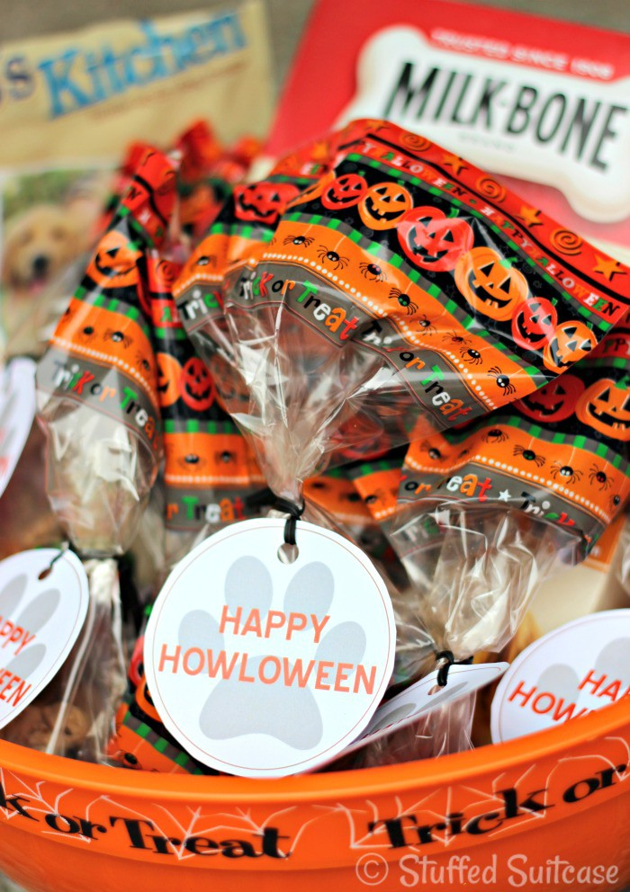 Happy Howloween Pet Treat Bags perfect to hand out for dog treats in the neighborhood #TrickorTreatEm | StuffedSuitcase.com