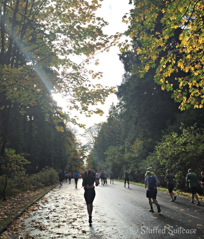 Running through Stanley Park.