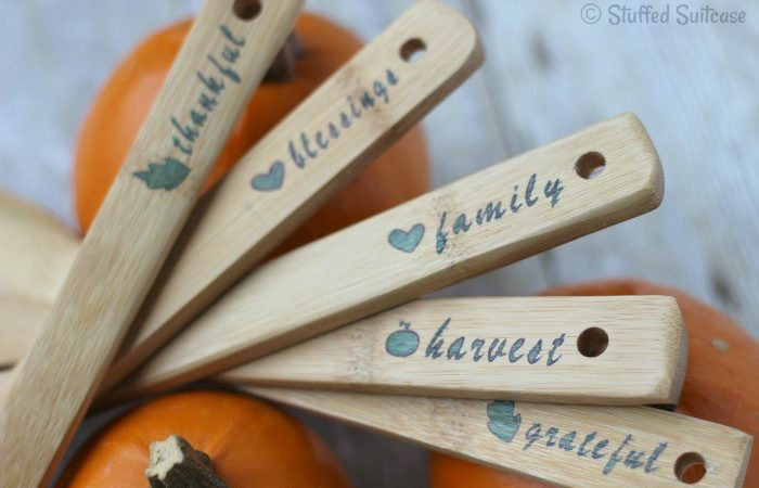 Stencil special words representing Thanksgiving on your serving utensils to dress up your holiday table | StuffedSuitcase.com